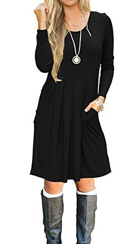 LLILBETTER Frauen Casual Langarm Plissee A-line Kleid mit Taschen (Schwarz L)