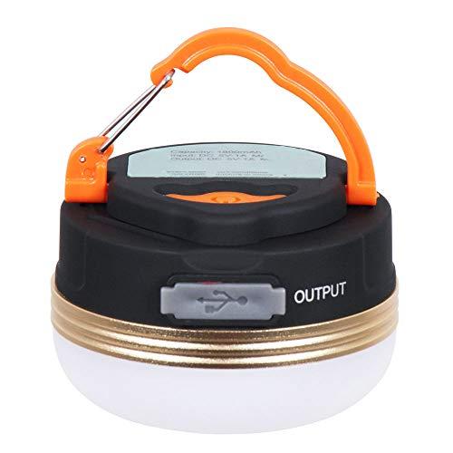 Linterna LED portátil para camping con base magnética de 1800 mAh, batería recargable por USB, 180 lm, luz LED para tienda de campaña con 3 modos, lámpara de emergencia impermeable IP65.