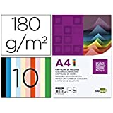 Liderpapel CT04 - Pack de 100 cartulinas, A4, 180 g, multicolor