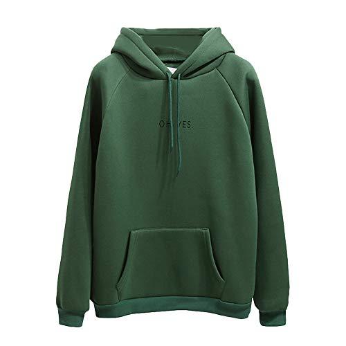 OH YES Brief Gedruckt Sweatshirt Damen Hoodie, MYMYG Damen Langarm Brief Sweatshirt Pullover Hoodie Tops Bluse(Grün,EU:40/CN-XL)