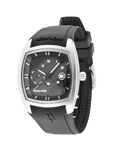 Police PL.93542AEU/02 - Reloj de cuarzo para hombres con esfera negra y correa negra de silicona