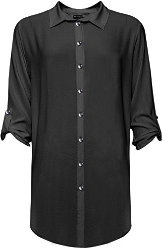 WEARALL Damen Damen Plus Seite Schlitz Hemd Damen Lang Hülle Schaltfläche Kragen Strecke Top - Schwarz - 54 (Kragen Button-up-shirt)