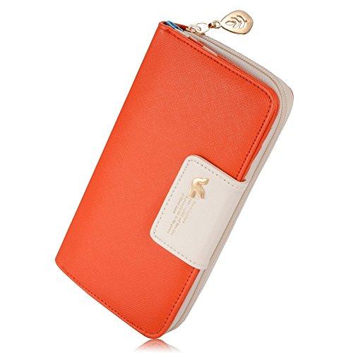 Leiwo Multi-Card Position Zwei Falten Lange Reißverschluss Geldbörse Lange Reißverschluss-Mappen-Handhandtasche der Frauen (Orange) (Damen-geldbörse Orange)