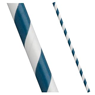 50 Pack - Aegean Blue and White Stripe - Paper Drinking Straws - Great for Parties - Free Delivery