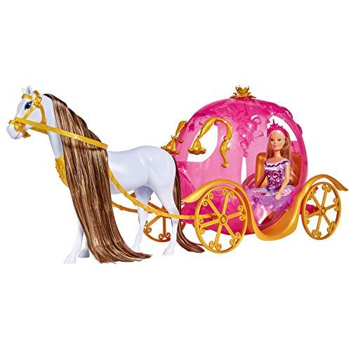 Steffi Love Leuchtende Kürbiskutsche mit Pferd 60cm Pferdekutsche Prinzessin Schloss Lange Pferdehaare Spielzeugpuppe Modepuppe Spielzeug Ankleidepuppe Puppen Zubehör Puppenkleidung Anziehpuppe Kinder
