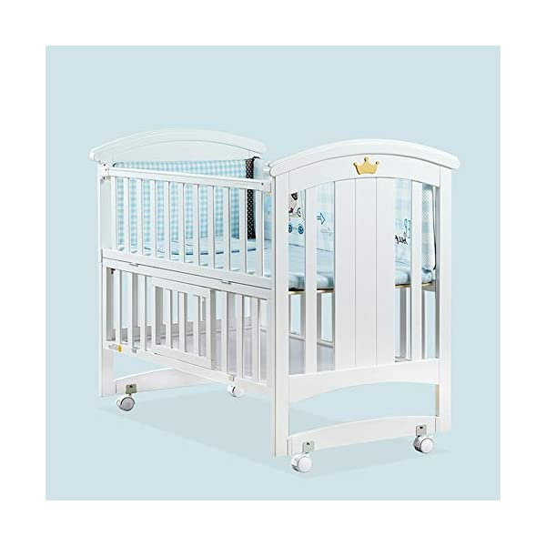 KLI Newborn Infant Crib Solid Harmless Paint Wood Baby Cradle Rocking Bed With Mattress,120 * 68 * 100Cm KLI Shipping list : crib,mat Size:120*68*100cm. Natural pine wood, harmless paint, polished and smooth, environmental wood, good for your baby 3 grade height adjustment: grade 1 (52cm from the floor)can be used for baby in 0-6 month, convenient to take out baby; grade 2 (38cm from the floor) for baby in 6-12 months and can stand independently;grade 3 (22cm from the floor) for baby in 1-3 years old. 6
