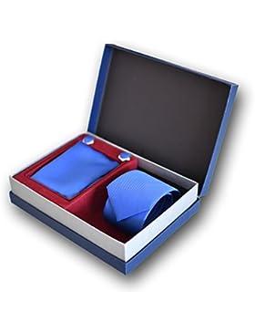 Cravatta, Fazzoletto e Gemelli Blu (Casella di Lusso), 100% Seta - Oxford Collection -