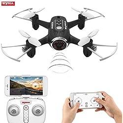 Syma X22W Drone Mini con Cámara WiFi FPV 2.4GHz 4CH 6-Axis Cuadricoptero con Retención de Altitud, Plan de Vuelo, Control de App, Modo Sin Cabeza, Rotación de 360° y Luz LED (Negro)