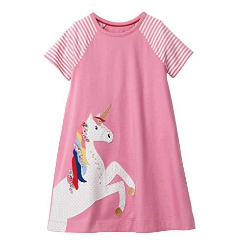 Mädchen Baumwolle Kurze Ärmel Kleid Lässiger süßer Drucken T-Shirt Kleid 1-7 Jahre (3-4 Jahre, Rosa Einhorn) -