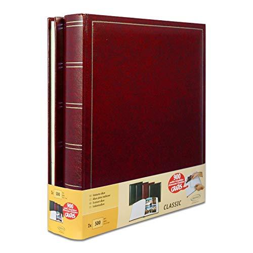 Lot de 2 albums traditionnels jumbo 100 pages pour 500 photos 10x15 - Rouge