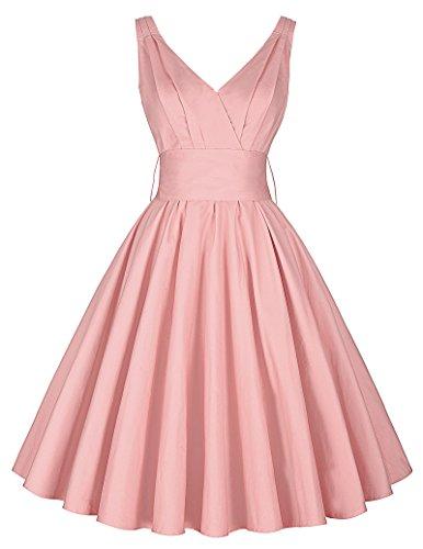 sommerkleid mit gürtel v neck kleid retro vintage kleid ärmellos elastisch kleid hochzeitsgast kleid XS CL8955-3