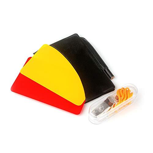 Ytian Sport Schiedsrichter Karten Set Rote Karte Gelbe Karte mit Tasche und Metall Schiedsrichter Pfeife Trainer Pfeife für Fußball
