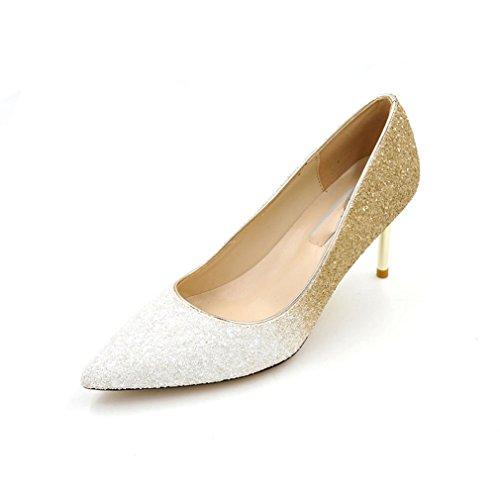 Damen Pumps Spitz Zehen Mosaik-Farben Gradient Glitzer High Heels Hochzeit Party Abend Elegant Bequem Topaktuell Stiletto Weiß, Gold