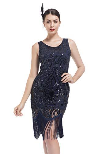 KILOLONE 1920er Jahre Paillettenkleid Gatsby Kleid Damen Quaste Fransen Perlen Flapper Kleid - 1920er Jahren Kleid-muster