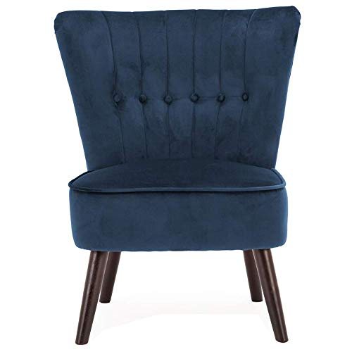 Lifelook Moderner Polsterstuhl Samt Deco Sessel Akzent-Sessel Geknöpfter Rückseite mit Massivholz Eiche Bein für Schlafzimmer Wohnzimmer oder Balkon usw(Blau)