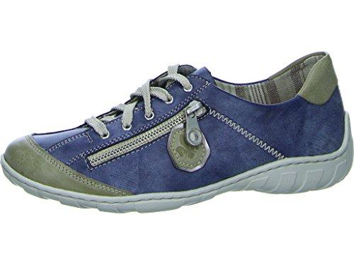 Rieker Damen M3724 Sneaker, Blau (Marble/Jeans/Altsilber), 37 EU (Halbschuhe Denim)