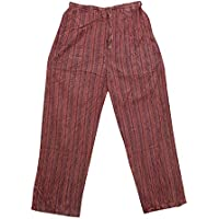 Boho Chic Designs Bohemian Pants Trousers Maroon Stripes Stonewashed Cotton Yoga Pajamas