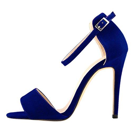 Oasap Femme Sandales A Talons Hauts Bride Cheville Talons Aiguilles Elégant Bleu