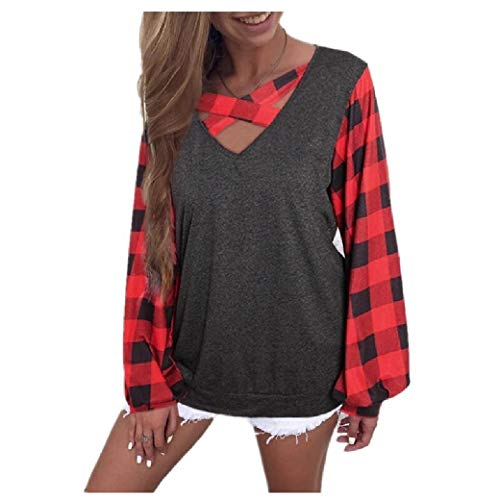 Energy Womens Blouse Solid Puff Sleeve Plaid Patchwork V Neck Shirts Red XS -