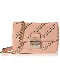 Nikky Women'S Studded Chain Strap Crossbody Shoulder Bag, Pink, One Size