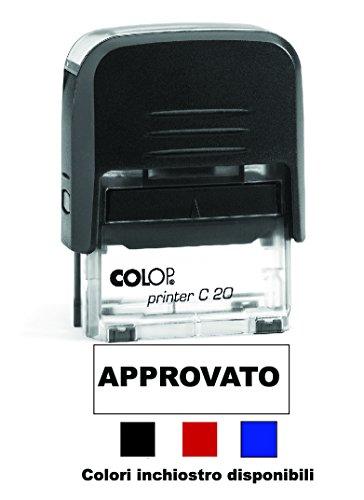 Timbro APPROVATO Autoinchiostrante Pronto all'uso con Testo personalizzato disponibile inchiostro Nero, Rosso, Blu Modello Colop Printer C 20 Commerciale Ufficio Scuola Lavoro (rosso)