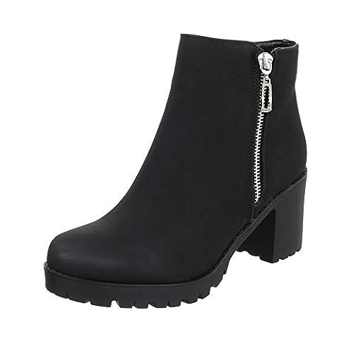 Klassische Stiefeletten Damen-Schuhe Schlupfstiefel Blockabsatz Blockabsatz Reißverschluss Ital-Design Stiefeletten Schwarz, Gr 37, H718-2-