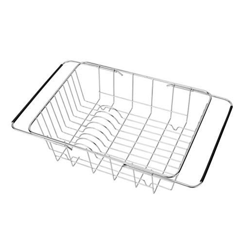 TOPBATHY escurreplatos extensible ajustable sobre el fregadero, escurreplatos y utensilios de cocina, cesta de almacenamiento para el hogar y la cocina