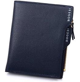 Blue Original Bogesi Men Premium Bifold Leather Men's Wallet Credit Card Holder Coin Purse    Blue