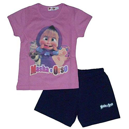 Masha & orso - completo t-shirt fucsia e shorts per bambina (6 anni)