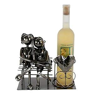 Spetebo Metall Weinflaschenhalter – Motiv Liebespaar – Deko Flaschen Halter Wein Ständer