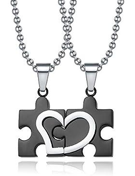 Kim Johanson Pärchen Halsketten für verliebte aus Edelstahl Puzzle mit Herz Schwarz inkl. Schmuckbeutel