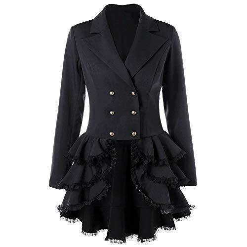 UJUNAOR Damenrock Mantel Schlanker Herbst Gekräuselter Small Suit Tuxedo Jacket(Schwarz,CN L)