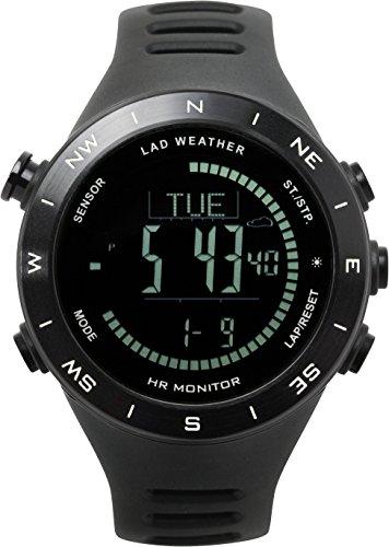 Lad-Weather Puls-Wetter-Monitor Höhenmesser-Barometer-Digitaler Kompass USB-Aufladbare Klettern-Trekking-Fischen-Wandern-Draussen-Uhr (Schwarz-) - Kalorien Zähler-monitor