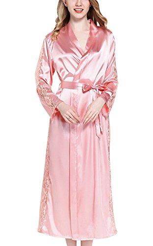 f67fd20744fd0d Sihuan Damen Seide Morgenmantel Bademantel Lang Kimono Elegant Spitze  Nachtkleid Nachtw?sche Langarm Sleepwear mit