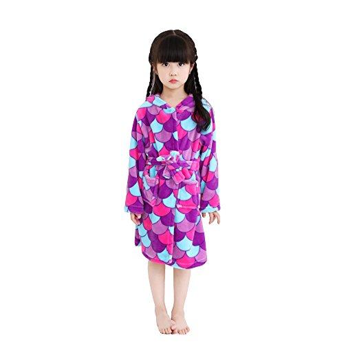 Albornoz de los niños de Dibujos Animados Animal Pijamas con capucha Robe Unicorn Terry Cosplay Disfraces Animales Vestido Unisex (Escamas moradas, 130 (120-130 cm))