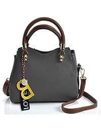 Sally Young Women Handbag Leather Briefcase Shoulder Bag Tote Purse Ladies Messenger Satchel - Grey