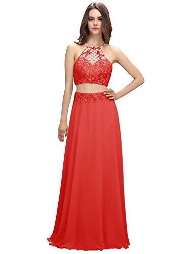 Dressystar Robe femme, Robe de soirée longue 2 pièces, aux perles strass à fleur, en Mousseline Rouge