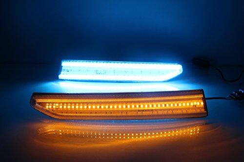 LED DRL Fahr Lampe für 2016 2017 Tagfahrlicht Blinker w/Blau Nachtlicht 1 paar blau + gelb + weiß