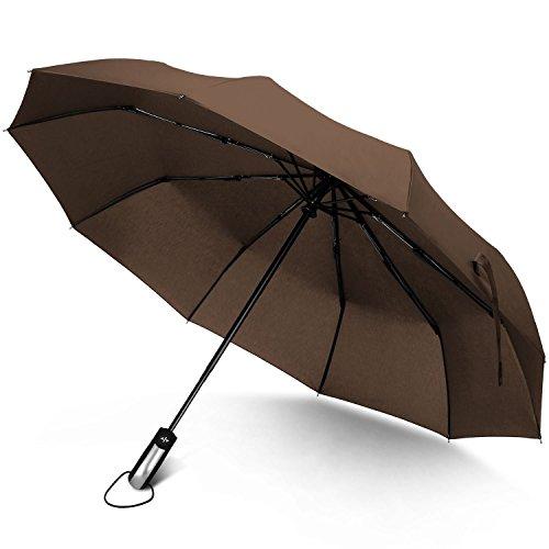 Junefish Regenschirm, mit 10 Glasfaser-Rippen, Edelstahl, windfest, braun