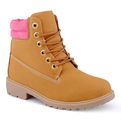 Mulheres Ankle Boots Botas De Motociclista Abr Em Botas De Caminhada Ao Ar Livre Perfil Padrão Único Sapatos Fúcsia / Camelo
