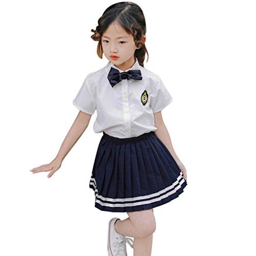 JM Ein kleiner Rock des Wort Rocks Mädchen Kurzarm-Shirt T Schuluniform Schuluniform Mädchen College Wind Krawatte Stickerei Shirt Rock Anzug (Größe: 7 Jahre, Weiß) (Mädchen Kleid Up Ideen)