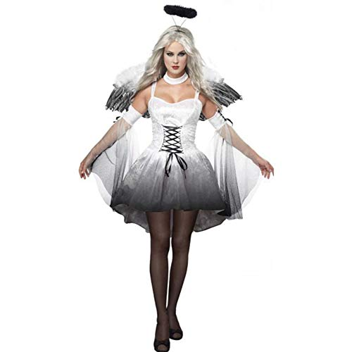 QIONGQIONG Halloween Dark Angel Kleid Kostüme Uniform Spiel Zombie Kleid Weibliche Geist Braut Teufel Pack Weiß/Schwarz,White