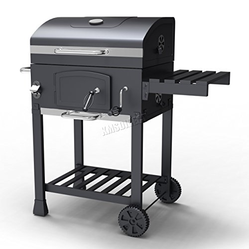 41KkgyA67QL. SS500  - FoxHunter Charcoal BBQ Grill Barbecue Smoker Grate Burner Garden Mobile Patio Portable Cart Trolley Outdoor CBG01 Grey Steel New