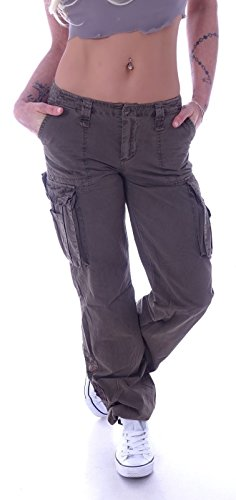 Damen Cargohose Stoffhose Cargo Hose Hüfthose Jeans XS 34 S 36 M 38 L 40 XL 42 XXL 44 (XXL 44, Khaki) (L 40, Braun) (Khaki, S 36)
