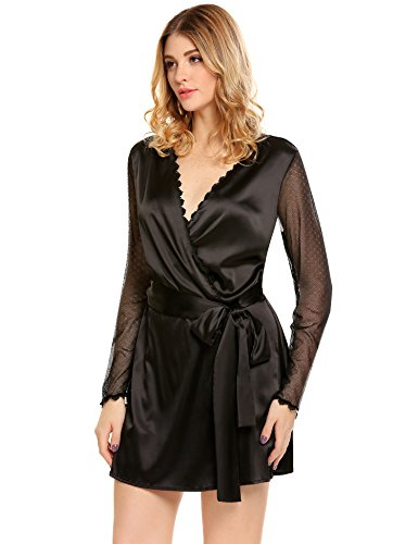 ADOME Damen Kimono Satin Morgenmantel Spitze Saum Seidenrobe Glatt Sehr Weich und Soft Nachtwäsche Gürtel Schwarz602