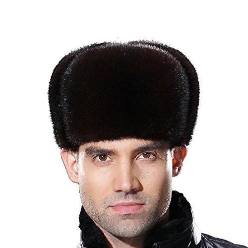 URSFUR Warme Herren Ushanka Kappe aus Echte Fell Skimütze Wintermütze Pelzmütze Trappermütze L-braun (Pelzmütze)