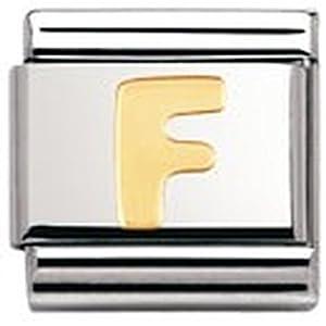 Nomination Composable Classic BUCHSTABEN Edelstahl und 18K-Gold (F) 030101