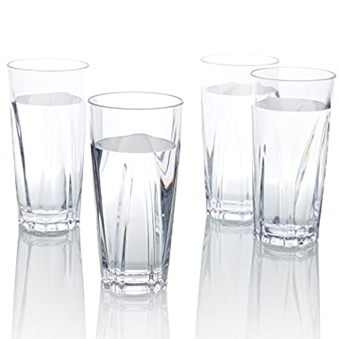 Plastic Drinking Glasses [4 Pack], PEMOTech 16 Oz Premium Clear