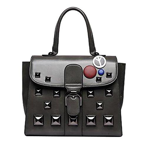 YouPue Damen Leder Handtaschen Umhängetasche weiblichen Beutel Handtaschen Für Frauen Handtasche Grau