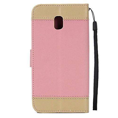 EKINHUI Case Cover Gemischte Farben Rose Blume matt Premium PU Leder Brieftasche Stand Case Cover mit Lanyard & Card Slots für Samsung Galaxy J530 ( Color : Purple ) Pink